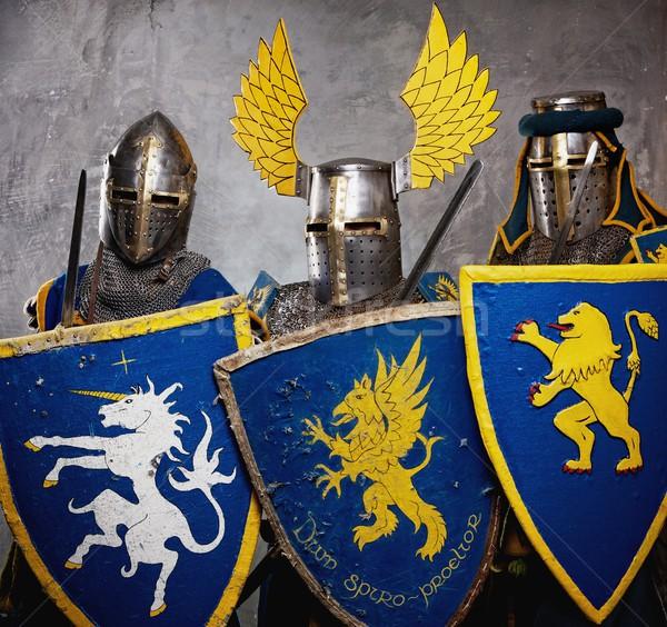 Three medieval knights  on grey background. Stock photo © Nejron