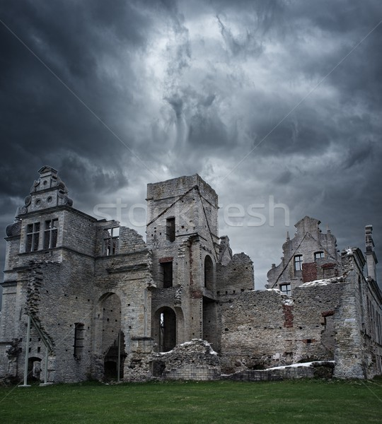 Stormy sky over ruins of manor house Stock photo © Nejron