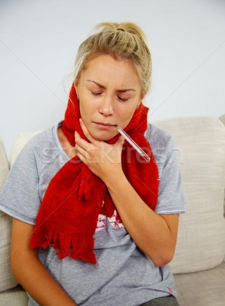 Stok fotoğraf: Hasta · genç · kadın · termometre · ev · kız · yüz