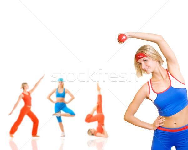 Grupo mujeres fitness ejercicio aislado blanco Foto stock © Nejron