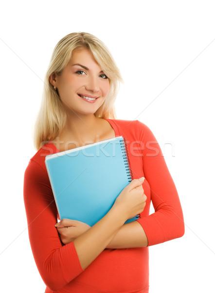 Mooie student geïsoleerd witte vrouw meisje Stockfoto © Nejron