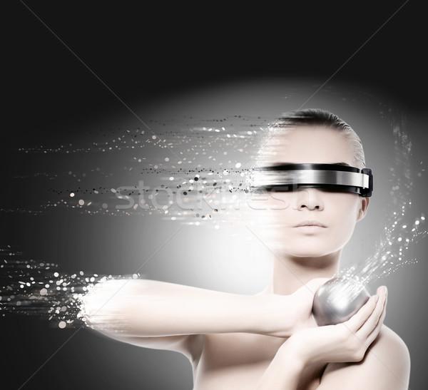 Stockfoto: Vrouwelijke · robot · nanotechnologie · vrouw · meisje · gezicht