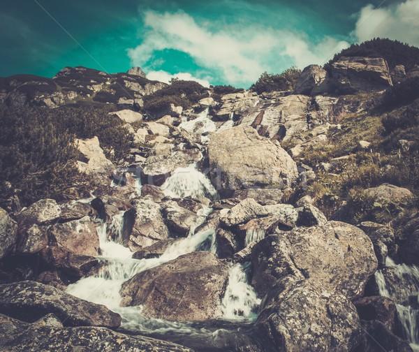 Corriente ejecutando rocas montanas cielo agua Foto stock © Nejron