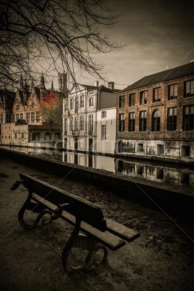ベンチ 運河 ベルギー 建物 市 日没 ストックフォト © Nejron