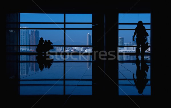 Modern bina insanlar siluetleri iş şehir duvar Stok fotoğraf © Nejron