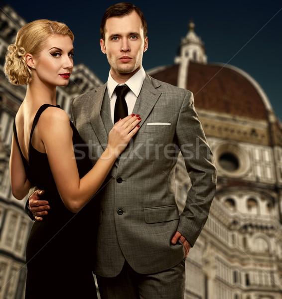 Retro couple against Duomo cathedral, Florence. Stock photo © Nejron