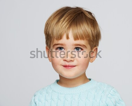 ストックフォト: 面白い · 赤ちゃん · 少年 · 青 · プルオーバー · 肖像