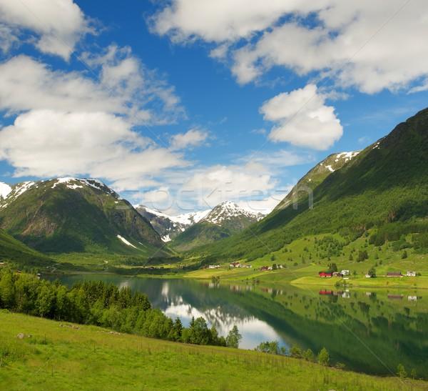 Tó norvég hegyek víz természet hó Stock fotó © Nejron