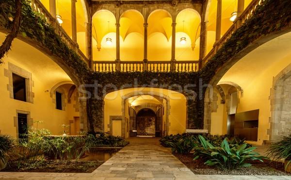 Quiet atrium with green plants with illumination Stock photo © Nejron