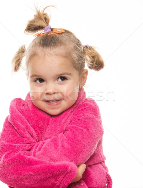 Funny little girl in dressing gown Stock photo © Nejron