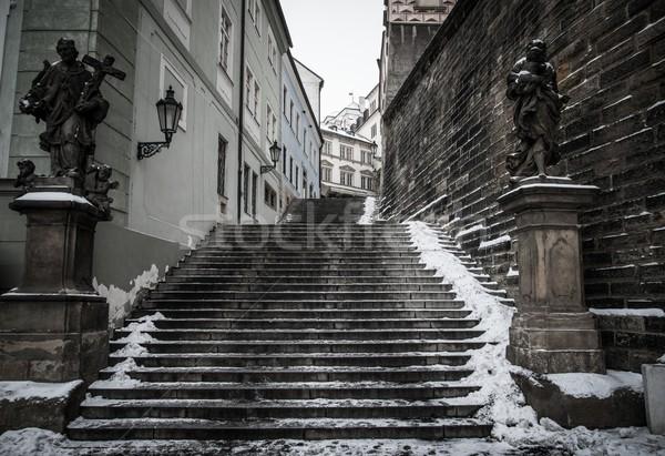 Foto stock: Escaleras · Praga · casa · edificio · nieve · castillo