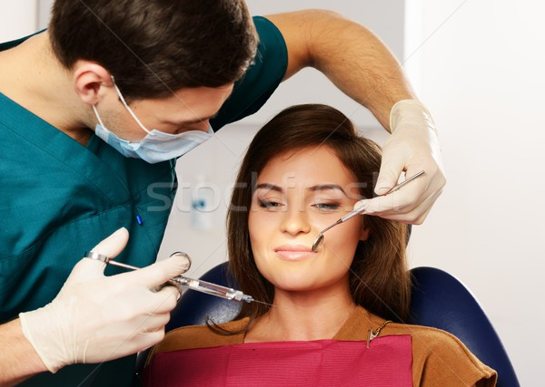 Dentist making anaesthetic injection to woman patient  Stock photo © Nejron