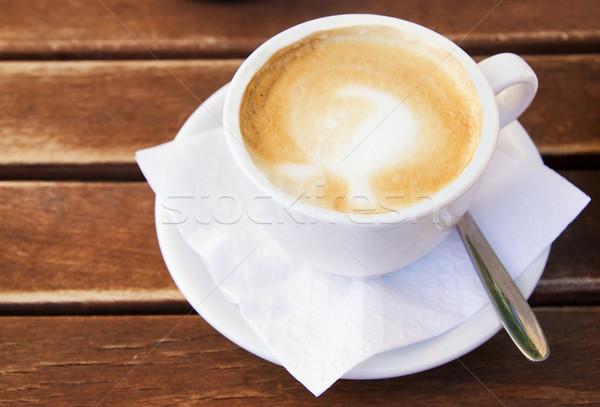 ストックフォト: コーヒーカップ · 木製のテーブル · テクスチャ · コーヒー · ドリンク · カップ