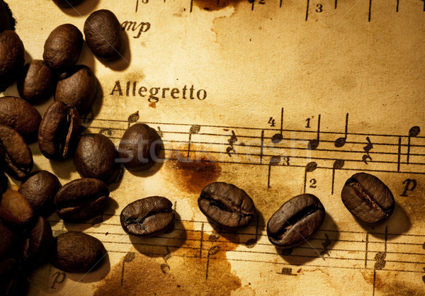 Coffee beans on a grungy musical background Stock photo © Nejron