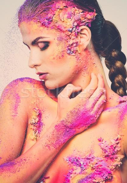 Fragility of a human creature conceptual body art on a woman  Stock photo © Nejron