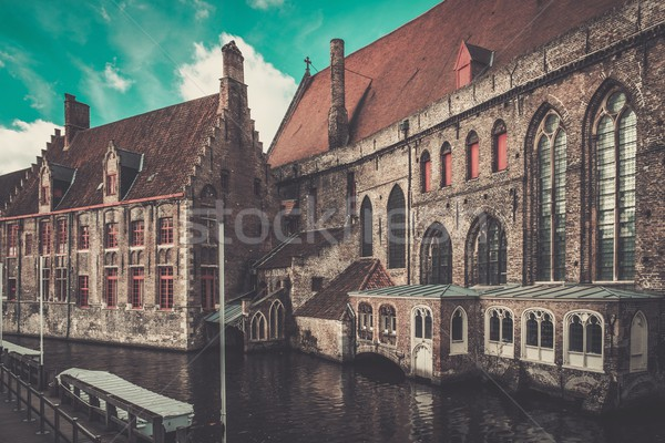 Houses along canal in Bruges, Belgium Stock photo © Nejron