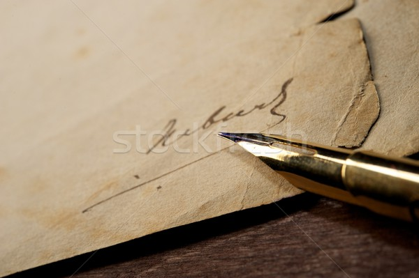 Signature on an old paper Stock photo © Nejron