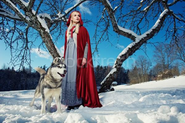 красный волка небе девушки собака молодые Сток-фото © Nejron
