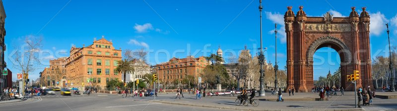 Panorama shot of Triumph Arc in Barcelona, Spain Stock photo © Nejron