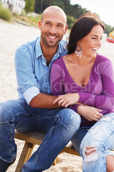 Gelukkig glimlachend paar strand vrouw Stockfoto © Nejron