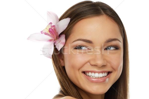 小さな 美しい ブルネット 女性 蘭 花 ストックフォト © Nejron