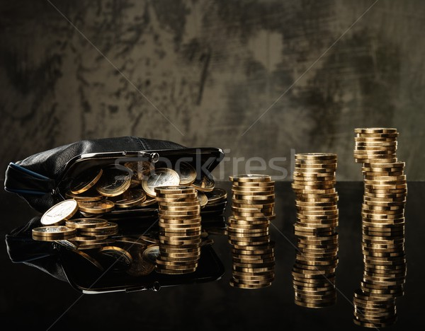 Purse with lot of euro coins  Stock photo © Nejron