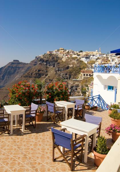 Stockfoto: Restaurant · mooie · landschap · santorini · eiland