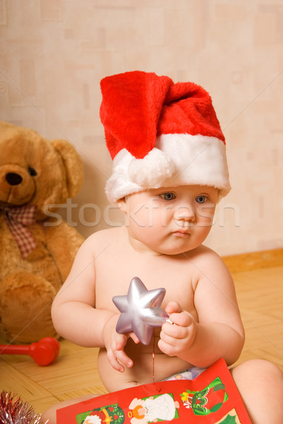 Adorable baby in Chrismtas hat Stock photo © Nejron