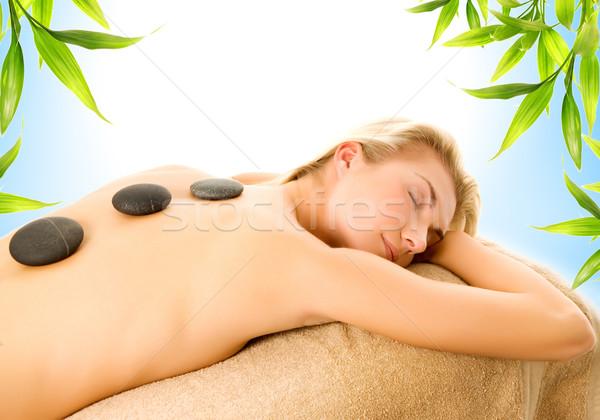 Foto stock: Massagem · quente · vulcânico · pedras · mulheres · projeto