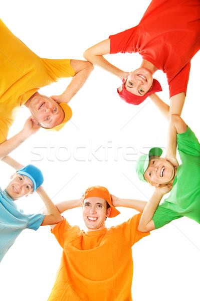 Happy family isolated on white background Stock photo © Nejron