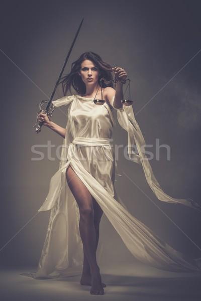 богиня правосудия Весы меч белый статуя Сток-фото © Nejron