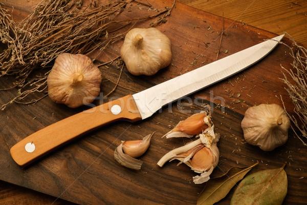 Сток-фото: чеснока · дизайна · жизни · ножом · рынке