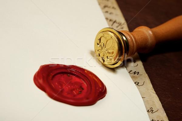 Klasszikus viasz bélyeg papír művészet levél Stock fotó © Nejron