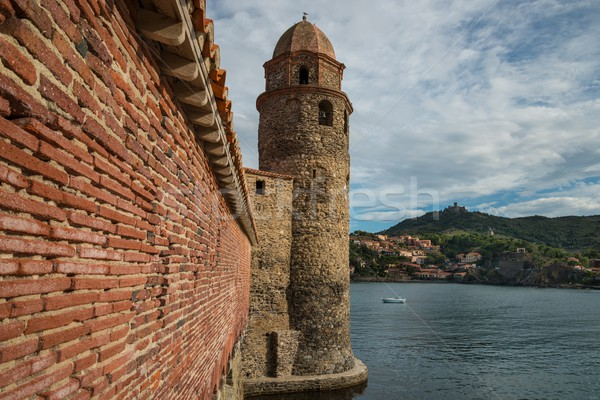 Tower of church Notre-Dame-des-Anges  in Collioure, France Stock photo © Nejron