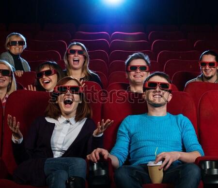 Stok fotoğraf: Komik · adam · 3d · gözlük · izlerken · film · sinema