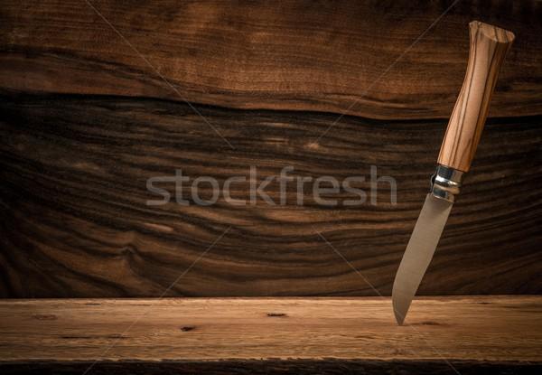 シャープ ナイフ 木製 抽象的な 背景 時間 ストックフォト © Nejron