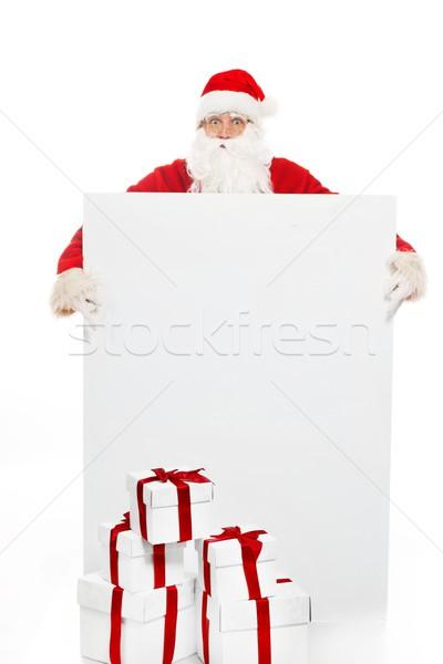 Mikulás sok ajándékdobozok hirdetőtábla arc férfi Stock fotó © Nejron