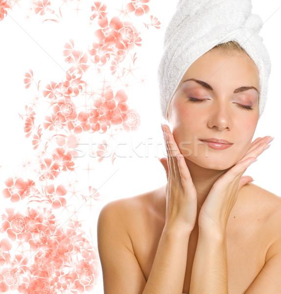 Jungen Dame Feuchtigkeitscreme Gesicht Dusche Stock foto © Nejron
