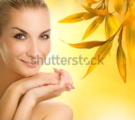 красивой аромат мыло женщину лист Сток-фото © Nejron