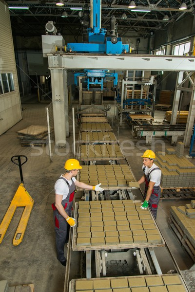 Worker and foreman in a safety hats performing quality check on a factory   Stock photo © Nejron