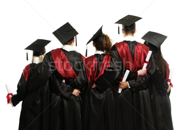 Group of graduated young students in black mantles  Stock photo © Nejron
