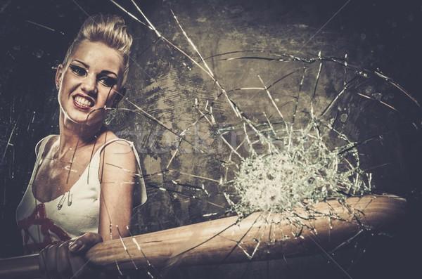 Punk meisje glas honkbalknuppel gezicht oorlog Stockfoto © Nejron