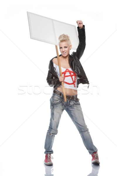Punk girl with a blank sign Stock photo © Nejron