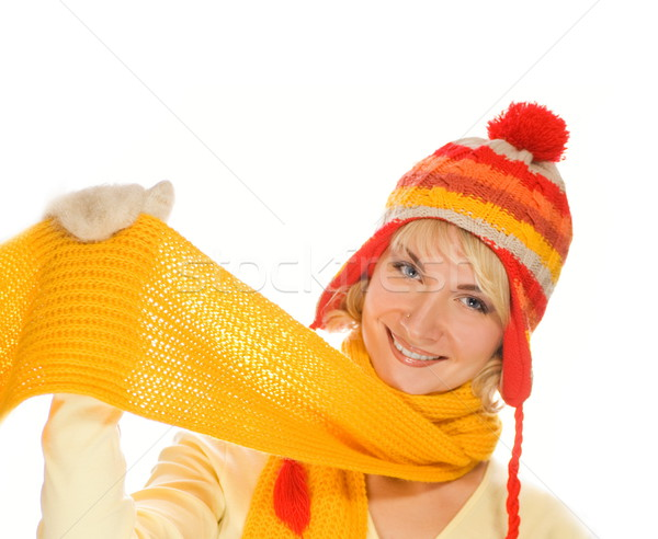 Beautiful smiling girl in winter clothing. Lots of possibilities Stock photo © Nejron