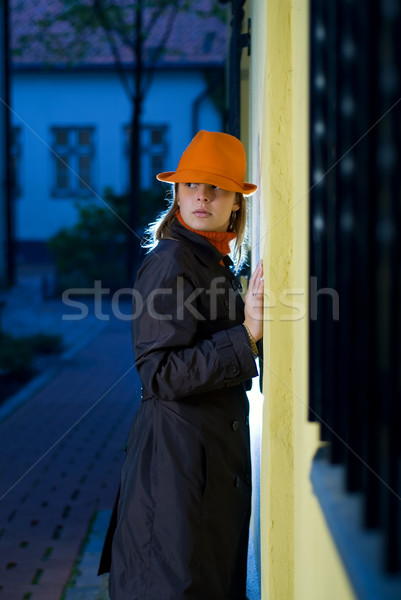 Beautiful girl in european old city at night time Stock photo © Nejron