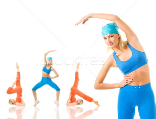 Grupo mulheres fitness exercer isolado branco Foto stock © Nejron