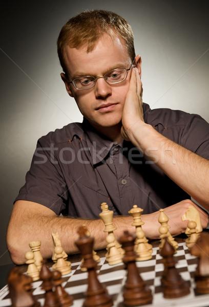 Nadenkend schaken meester witte spel winnaar Stockfoto © Nejron