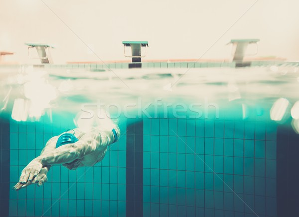 スイマー 水 スイミングプール 男 青 時間 ストックフォト © Nejron