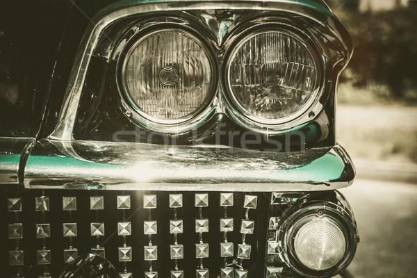 Close-up of retro car facia with chrome grille Stock photo © Nejron