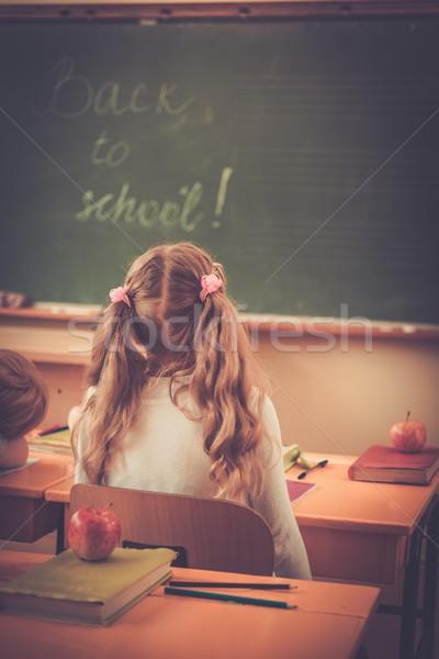 мало школьница глядя доске класс урок Сток-фото © Nejron